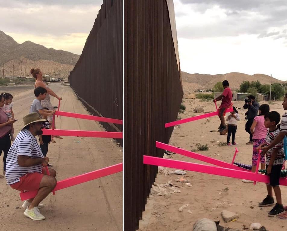 Le altalene rosa che abbattono le divisioni nel muro tra USA e Messico